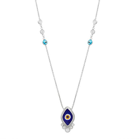 Imagen de Sterling Silver Cubic Zirconia Multicolored Diamond Shaped Evil Eye Station Cable Chain Necklace