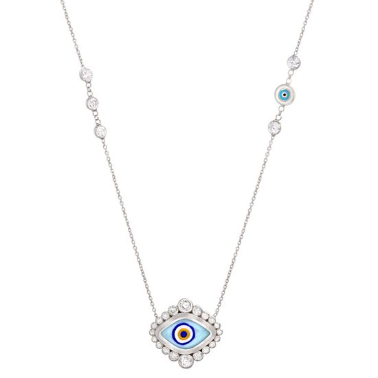 Imagen de Sterling Silver Cubic Zirconia Bezel Multicolored(Light Blue/Black/Yellow/White) Enamel Evil Eye Station Cable Chain Necklace