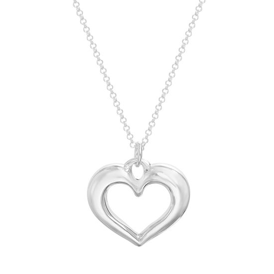 Imagen de Sterling Silver Polished Heart Cable Chain Necklace