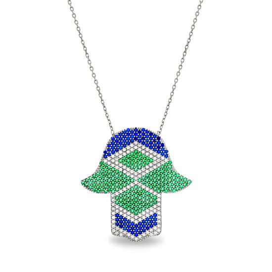 Imagen de Multi-Colored Genuine Cubic Zirconia Geo Shaped Design Hamsa Hand Pendant Cable Chain Necklace Sterling Silver