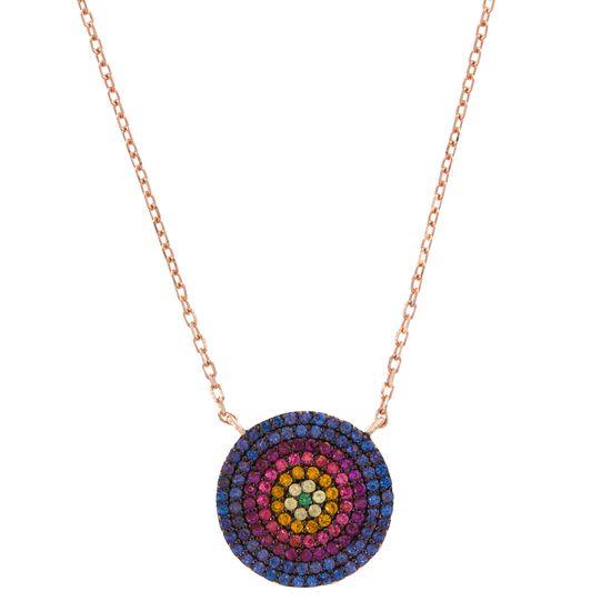 Imagen de Two-Tone Sterling Silver Multi-Colored Cubic Zirconia Evil Eye Disc Pendant Cable Chain Necklace