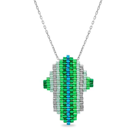 Imagen de Tri-Tone Sterling Silver Hamsa Cable Chain Necklace
