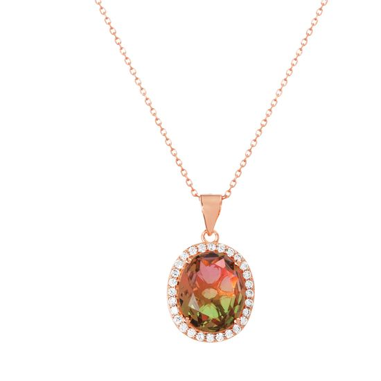 Imagen de Rose Gold Plated Sterling Silver Emerald Cut Watermelon & Cubic Zirconia Border Oval Halo Pendant Cable Chain Necklace