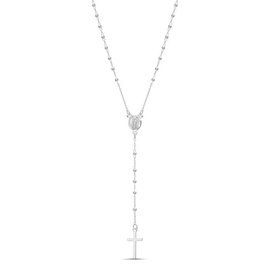 Imagen de Sterling Silver Polished Beads/ Cross Drop 18 Rosary Necklace