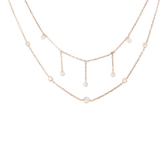 Imagen de Genuine Cubic Zirconia Bezel Double Layered Necklace in Rose Gold over Sterling Silver
