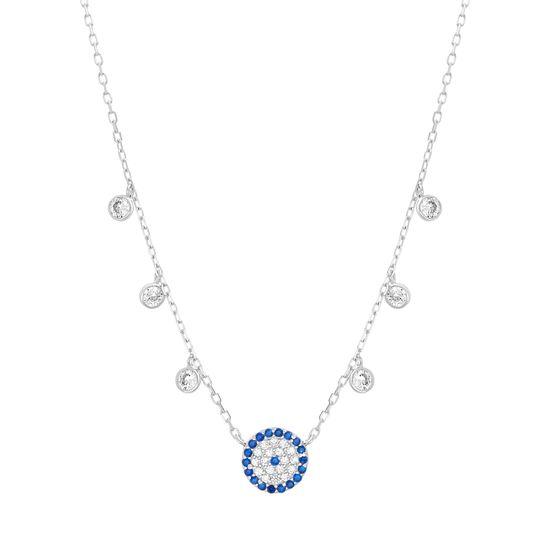 Imagen de Blue & Genuine Cubic Zirconia Evil Eye Necklace in Sterling Silver