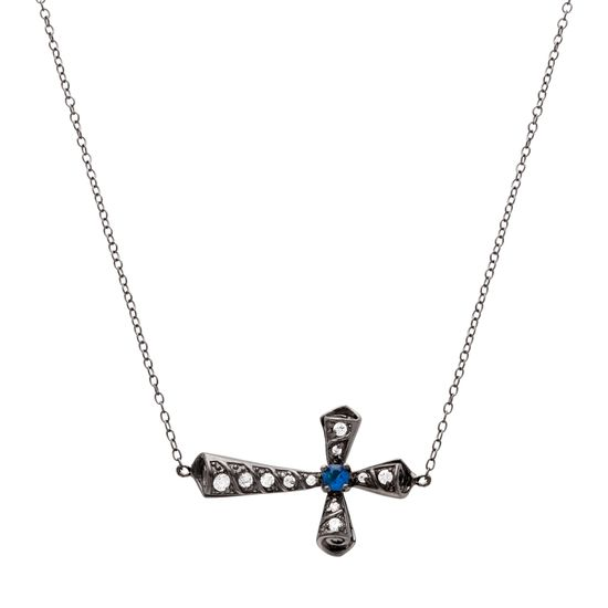 Imagen de Black-Tone Sterling Silver Cubic Zirconia with SPPR and Clear Sideway Cross Pendant with Necklace