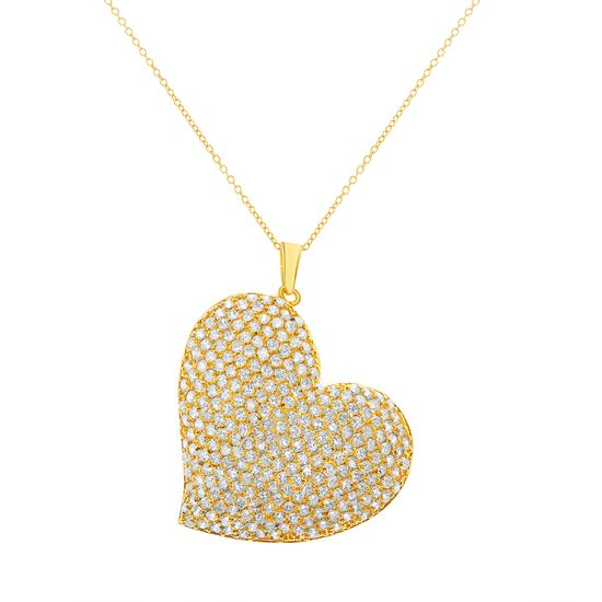 Picture of Brass Pave Cubic Zirconia Heart Pendant Cable Chain Necklace