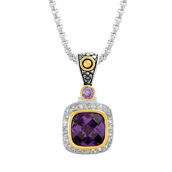 Imagen de & White Gold Plated Brass Center Amethyst & Cubic Zirconia Border Squared Design Pendant Box Chain Necklace