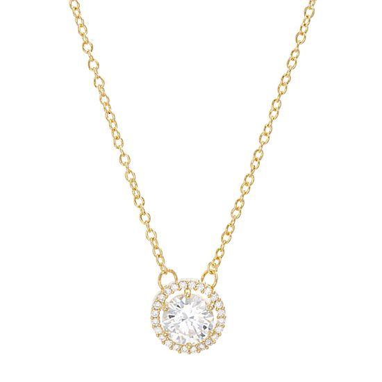 Picture of Cubic Zirconia Halo Necklace in Gold over Brass