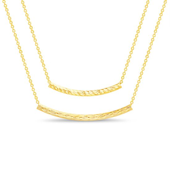 Imagen de Gold-Tone Brass Curved Tubes Double Layered Cable Chain Necklace