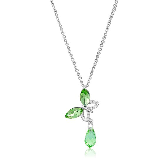 Picture of Rhodium Plated Brass Peridot Marquise Crystal Butterfly Design Pendant Cable Chain Necklace