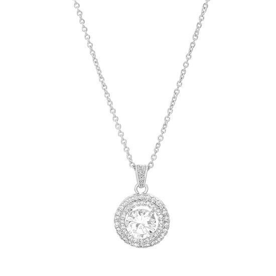 Imagen de Silver-Tone Brass Round CZ Halo Cable Chain Necklace
