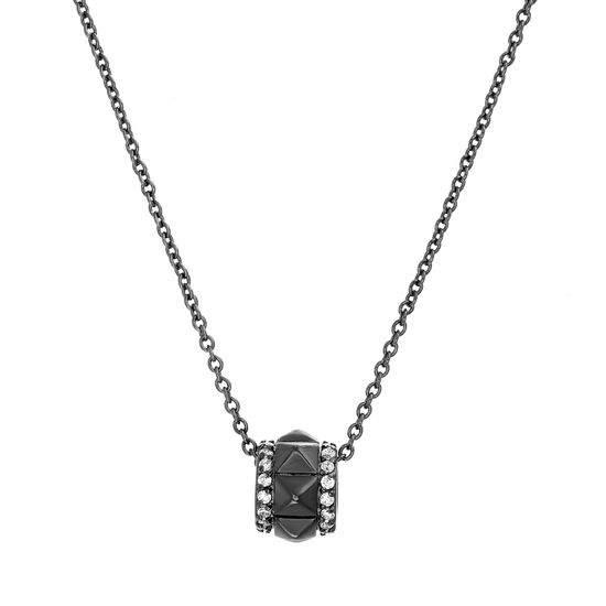 Picture of Black Rhodium Plated Brass Cubic Zirconia Pyramid Studded Rondelle Pendant Cable Chain Necklace