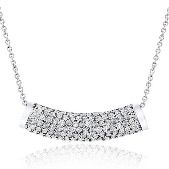 Picture of Genuine Cubic Zirconia Curved Bar Pendant