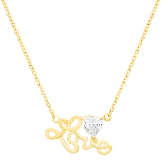 Imagen de Brass Cubic Zirconia 3 Prong Heart with Station LOVE Cable Chain Necklace