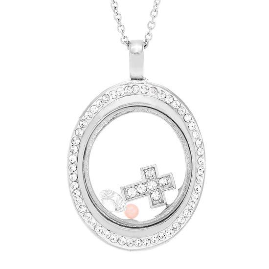 Imagen de Sterling Silver Cubic Zirconia Cross and Fresh Water Pearl Oval Lock It Necklace