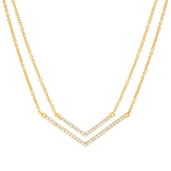 Imagen de Gold-Tone Brass Cubic Zirconia V-Shaped Pendant Double Layered Cable Chain Necklace