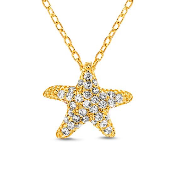 Imagen de Gold-Tone Brass Cubic Zirconia Starfish Pendant Cable Chain Necklace