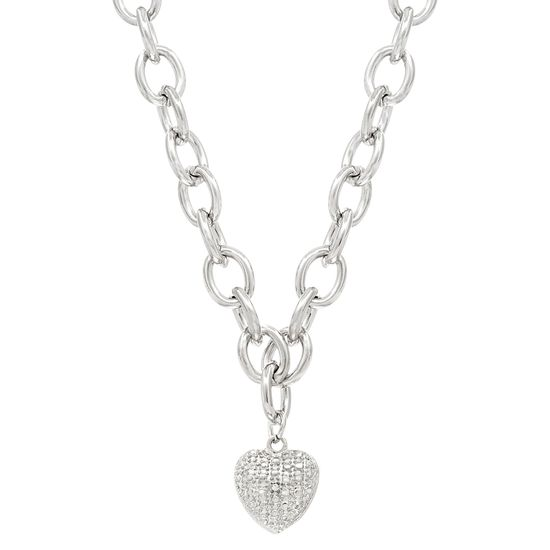 Imagen de Diamond Accent Heart Charm Rolo Chain Necklace in Rhodium over Brass