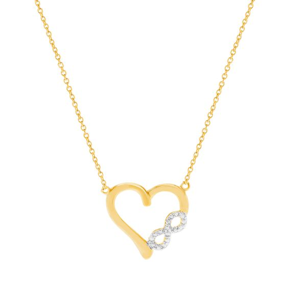 Imagen de Diamond Accent Infinity Heart Pendant Necklace in Gold over Brass