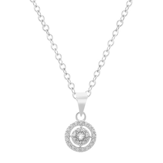 Imagen de BRASS RHODIUM DIAMOND ACCENT OPEN CIRCLE PENDANT ON 18 CABLE CHAIN NECKLACE