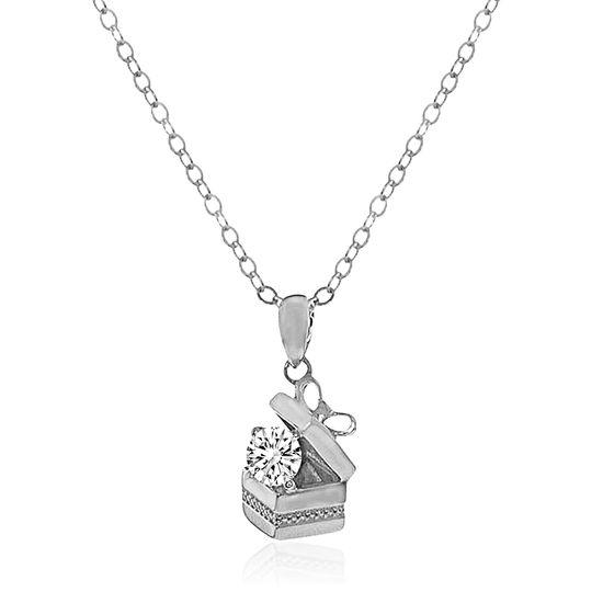 Imagen de Silver-Tone Brass Cubic Zirconia Box Charm Cable Chain Necklace