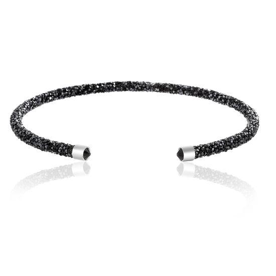 Imagen de Silver-Tone Brass Black Crystal Wrapped Open Collar Necklace