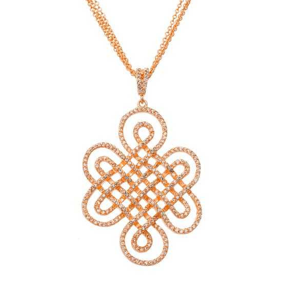 Imagen de Brass Cubic Zirconia Fancy Filigree Design Pendant Triple Strand Cable Chain Necklace
