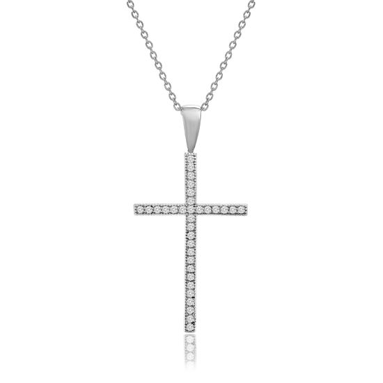 Imagen de Rhodium Plated Brass Cubic Zirconia Cross Pendant Cable Chain Necklace