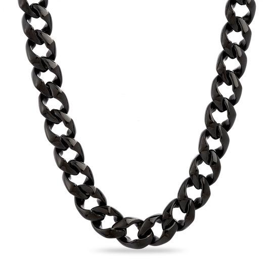 Imagen de Black-Tone Stainless Steel Men's 24 Curb Chain Necklace