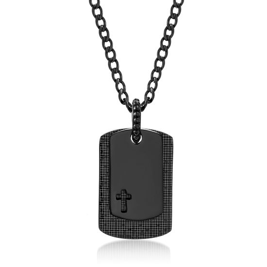 Imagen de Two-Tone Stainless Steel Black Dog Tag 26 Necklace