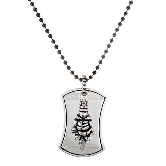 Imagen de Silver-Tone Stainless Steel Polished Dog tag and Charm Black Leather Necklace