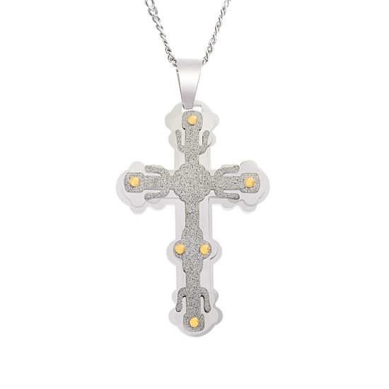 Imagen de Two-Tone Stainless Steel Men's Triple Layered Glitter Cross Pendant Curb Chain Necklace
