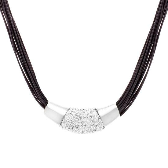 Imagen de Silver-Tone Stainless Steel Cubic Zirconia Polished Rim Pendant 20 Black Multi-Cord Necklace