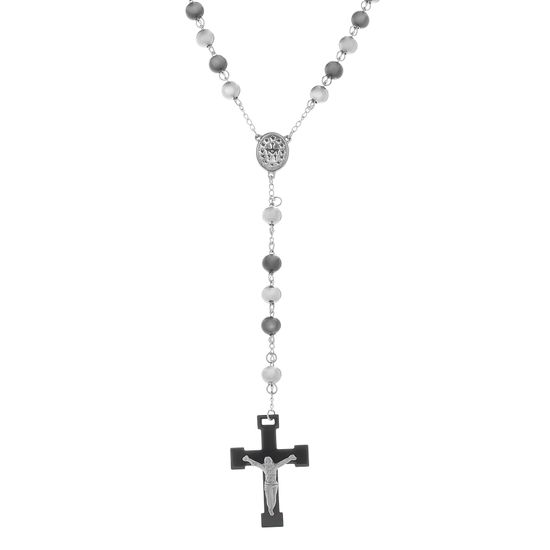 Imagen de Two-Tone Stainless Steel Men's 8mm Beaded Rosary Necklace