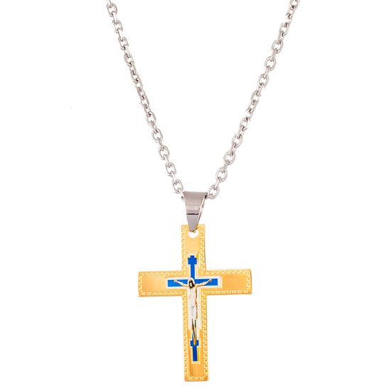 Imagen de Two-Tone Stainless Steel Men's Religious Cross Necklace