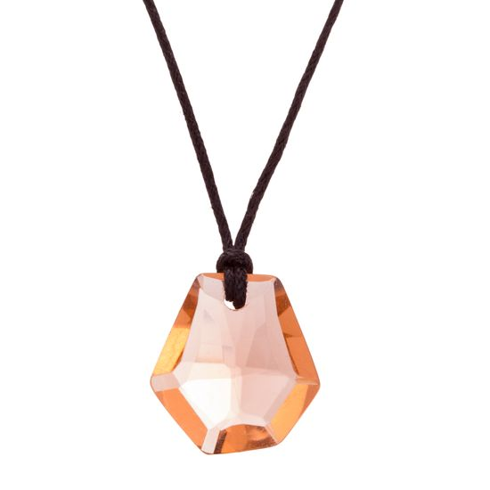 Imagen de Silver-Tone Stainless Steel Champagne Hexagon Pear Shaped Stone 16+2 Black Cord Necklace