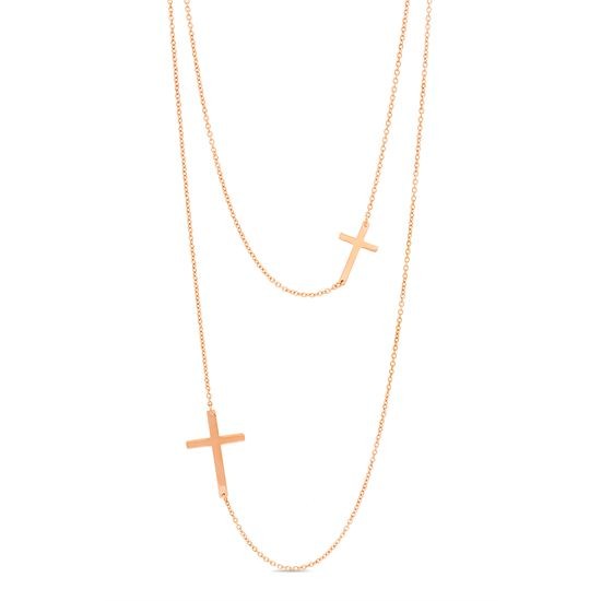 Imagen de Rose-Tone Stainless Steel Sideways Cross Stations Double Layered Rolo Chain Necklace