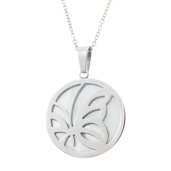 Imagen de Silver-Tone Stainless Steel Mother Of Pearl Butterfly Disc Cable Chain Necklace