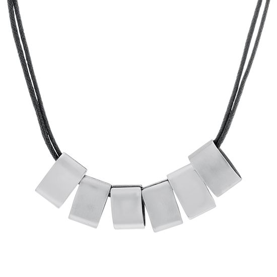 Imagen de Silver-Tone Stainless Steel 6 Polished Rectangle Stations Double Layered 18 Black Rope Chain Necklace
