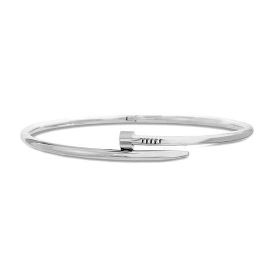 Imagen de Silver-Tone Stainless Steel Nail Design Bypass 18 Collar Necklace