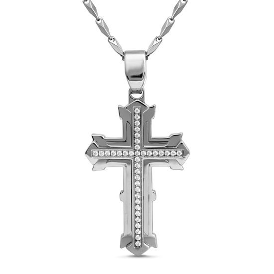Imagen de Silver-Tone Stainless Steel Men's 3D Cross with Center Cubic Zirconia Pendant Link Chain Necklace
