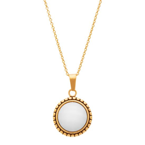 Imagen de Gold-Tone Stainless Steel White Agate Beaded Border 16+2 Cable Chain Necklace