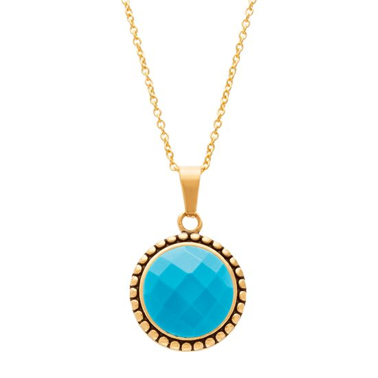 Imagen de Gold-Tone Stainless Steel Turquoise Beaded Border 16+2 Cable Chain Necklace
