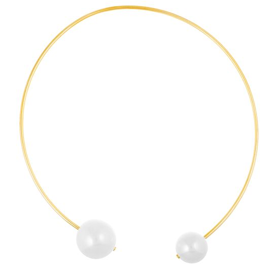 Imagen de Gold-Tone Stainless Steel IP White Fresh Water Pearl Ends Collar Necklace