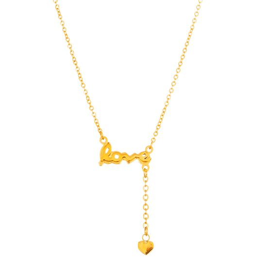 Imagen de Gold-Tone Stainless Steel Cubic Zirconia Station Love and Heart Charm Necklace