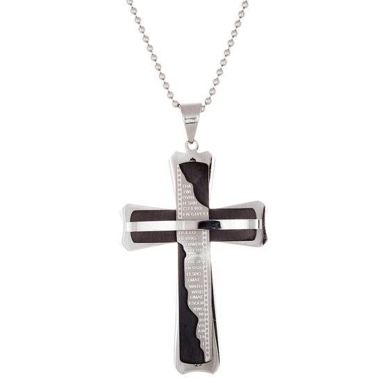 Imagen de Two-Tone Stainless Steel Torn Prayer on Men's Cross Necklace