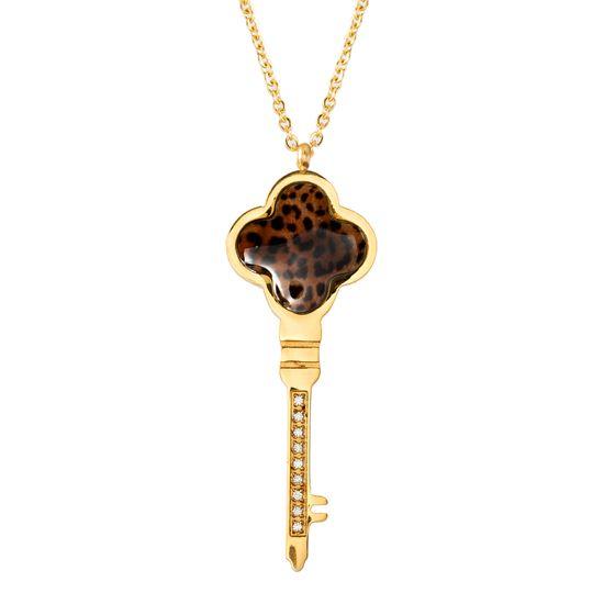 Imagen de Gold-Tone  Animal Print Flower Key 16 Cable Chain Necklace