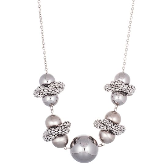 Imagen de Silver-Tone Stainless Steel Ball Wrapped Popcorn Chain Cable Chain Necklace